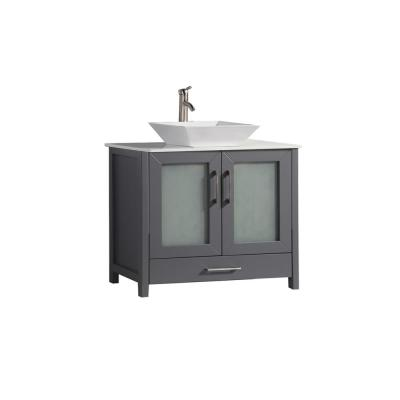 Dijon 36 in. W x 18 in. D x 36 in. H Bath Vanity in Grey with Quartz Vanity Top in Off-White with White Basin