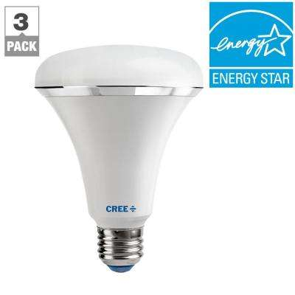 65W Equivalent Soft White (2700K) BR30 Dimmable LED Light Bulb (3-Pack)