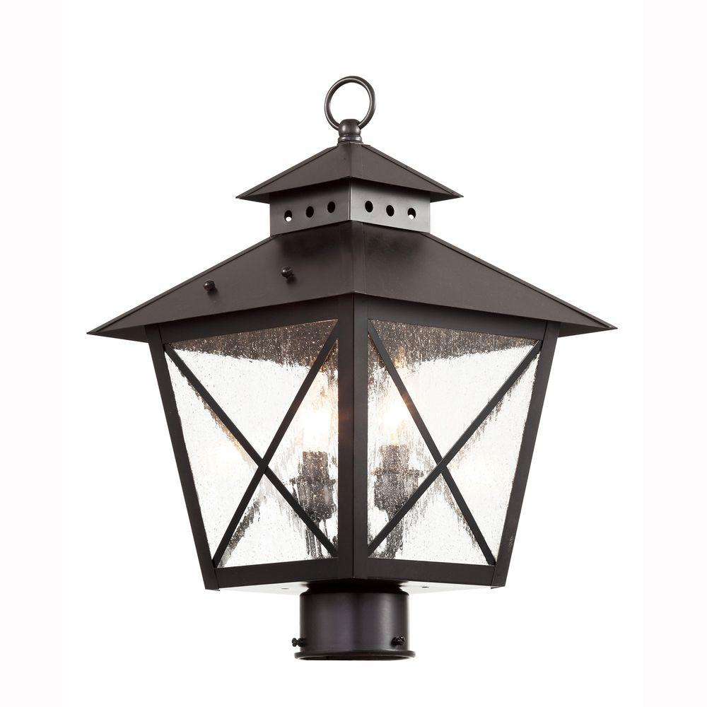 Bel Air Lighting Farmhouse 2 Light Outdoor Black Post Top Lantern With Seeded Gl