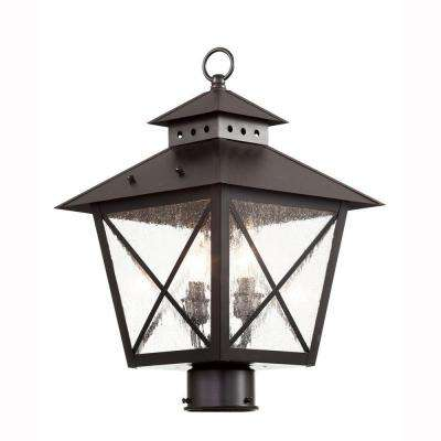 Farmhouse 2-Light Outdoor Black Post Top Lantern with Seeded Glass
