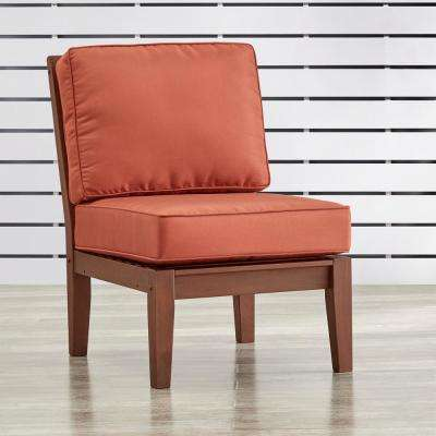 Verdon Gorge Brown Oiled Wood Outdoor Extension Lounge Chair with Red Cushion