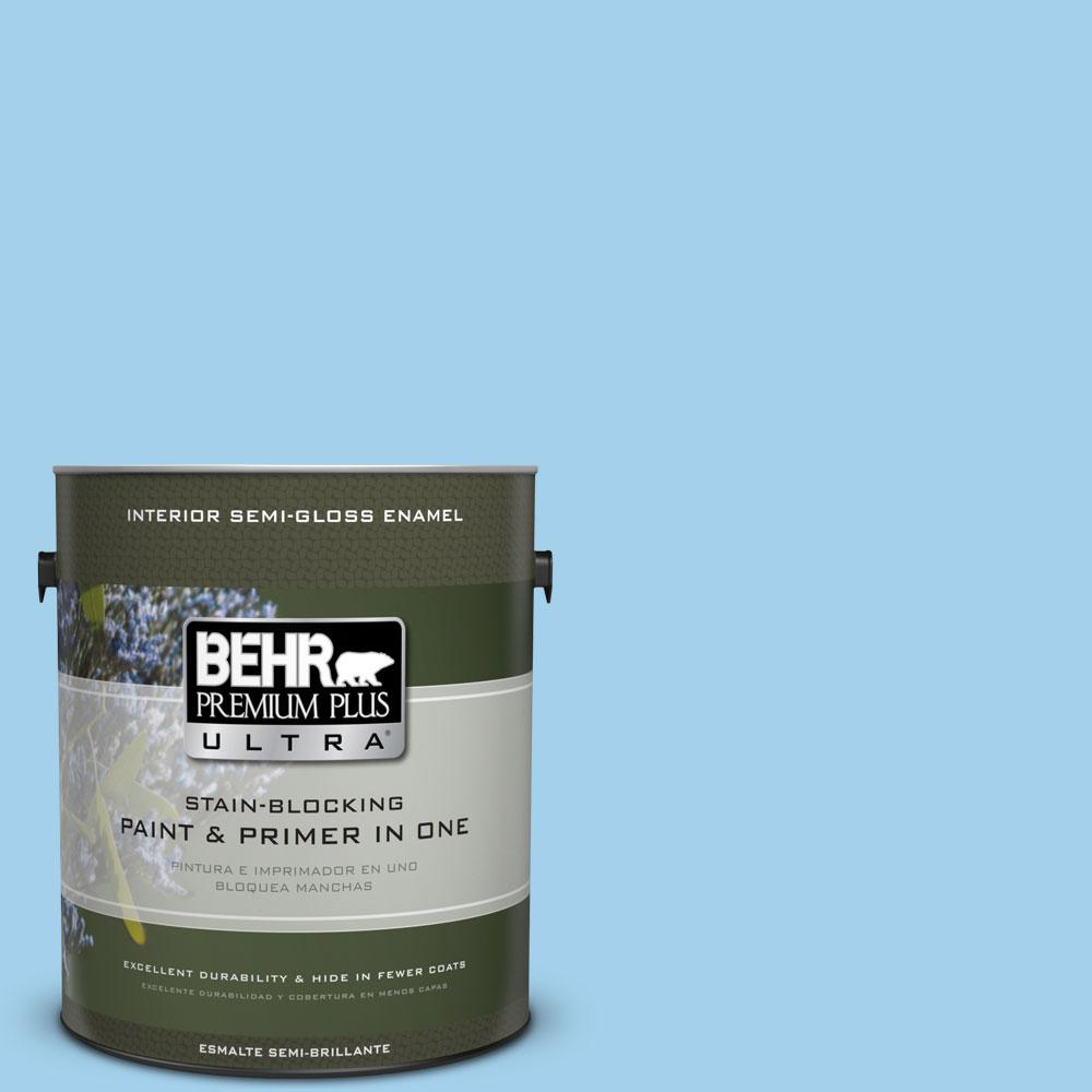 1 gal. #550A-3 Little Pond Semi-Gloss Enamel Interior Paint and Primer