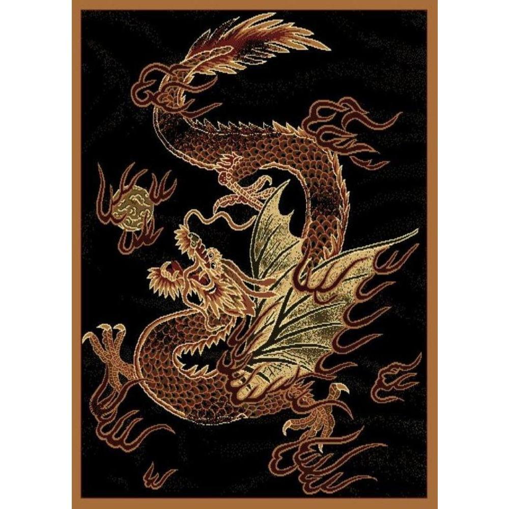 Dragon Luck Black/Beige 5 ft. x 7 ft. Area Rug
