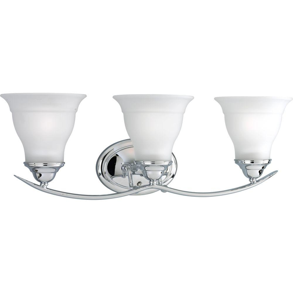 bathroom lighting fixtures photo 15. Progress Lighting Trinity 3-Light Chrome Vanity Light With Etched Glass Shades Bathroom Fixtures Photo 15 A
