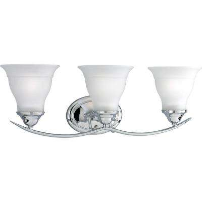Trinity 3-Light Chrome Bathroom Vanity Light with Glass Shades