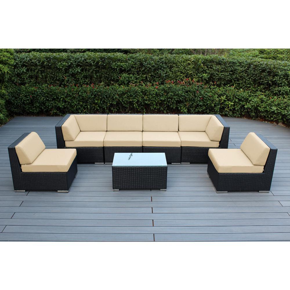 Black 7-Piece Wicker Patio Seating Set with Sunbrella Antique Beige Cushions