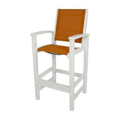 Coastal White All-Weather Plastic Outdoor Bar Chair in Citrus Sling