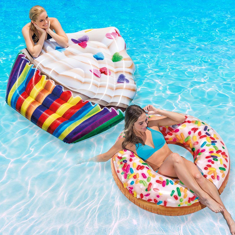 Intex Cupcake Mat and Sprinkle Donut Tube Pool Float Combo Pack ...