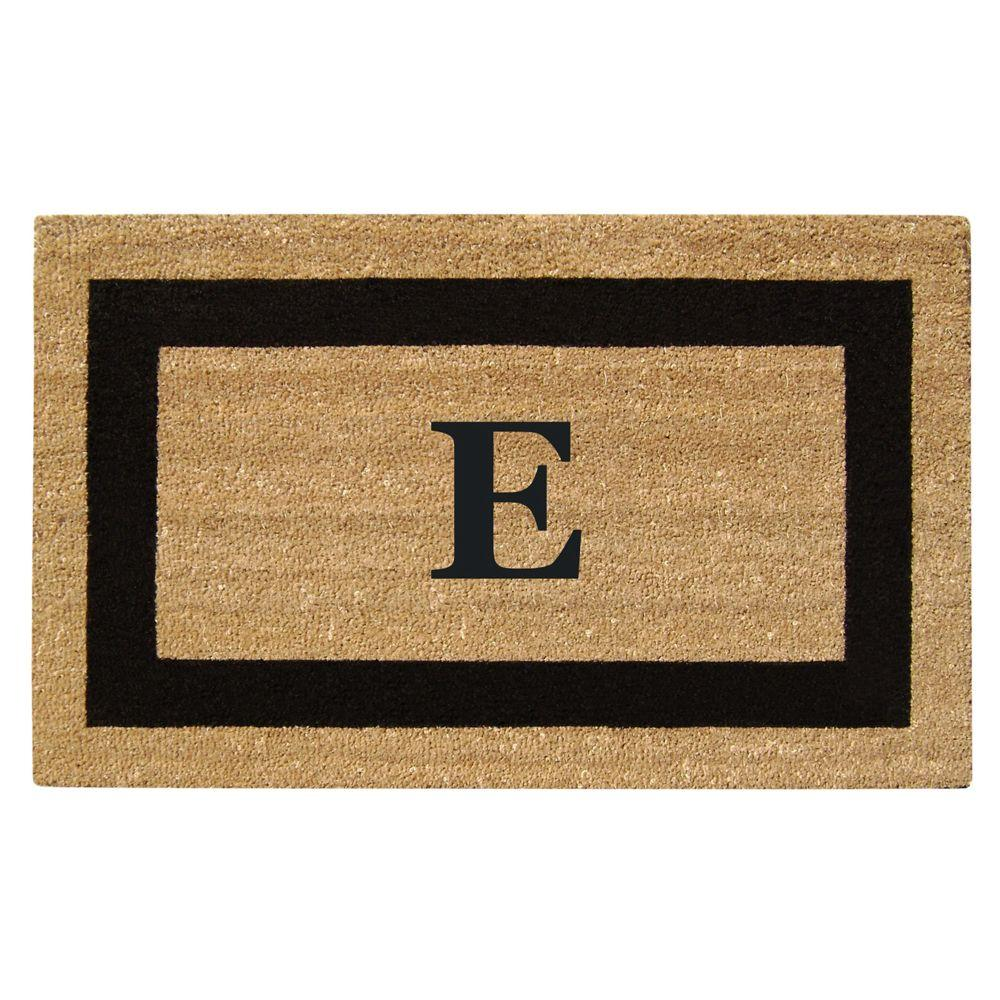 Creative Accents Single Picture Frame Black 22 in. x 36 in. HeavyDuty SuperScraper Vinyl Coir Monogrammed E Door Mat
