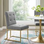 Privy Gold Stainless Steel Upholstered Fabric Gold Light Gray Dining Accent Chair