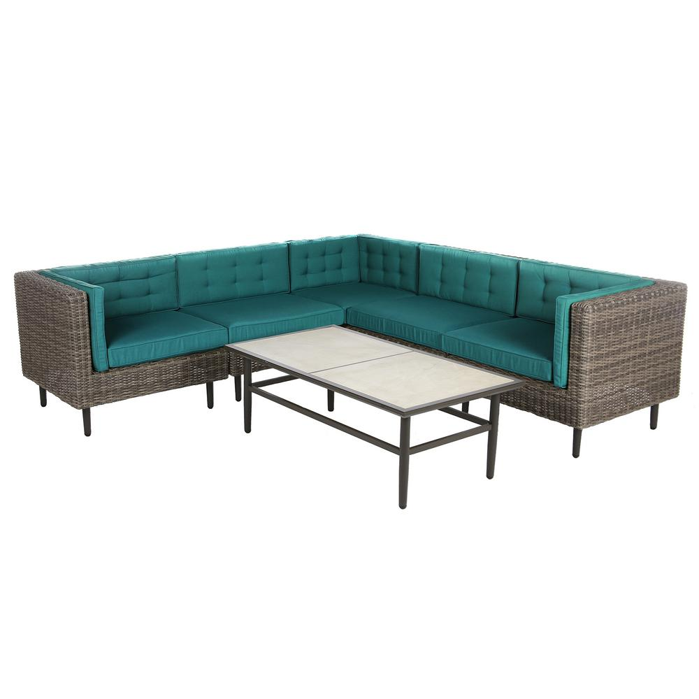 AE Outdoor Aimee 6-Piece Wicker Patio Sectional Seating Set with Spectrum-Peacock Cushions