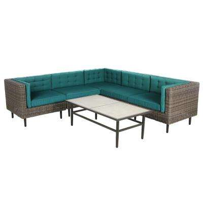 Aimee 6-Piece Wicker Patio Sectional Seating Set with Spectrum-Peacock Cushions