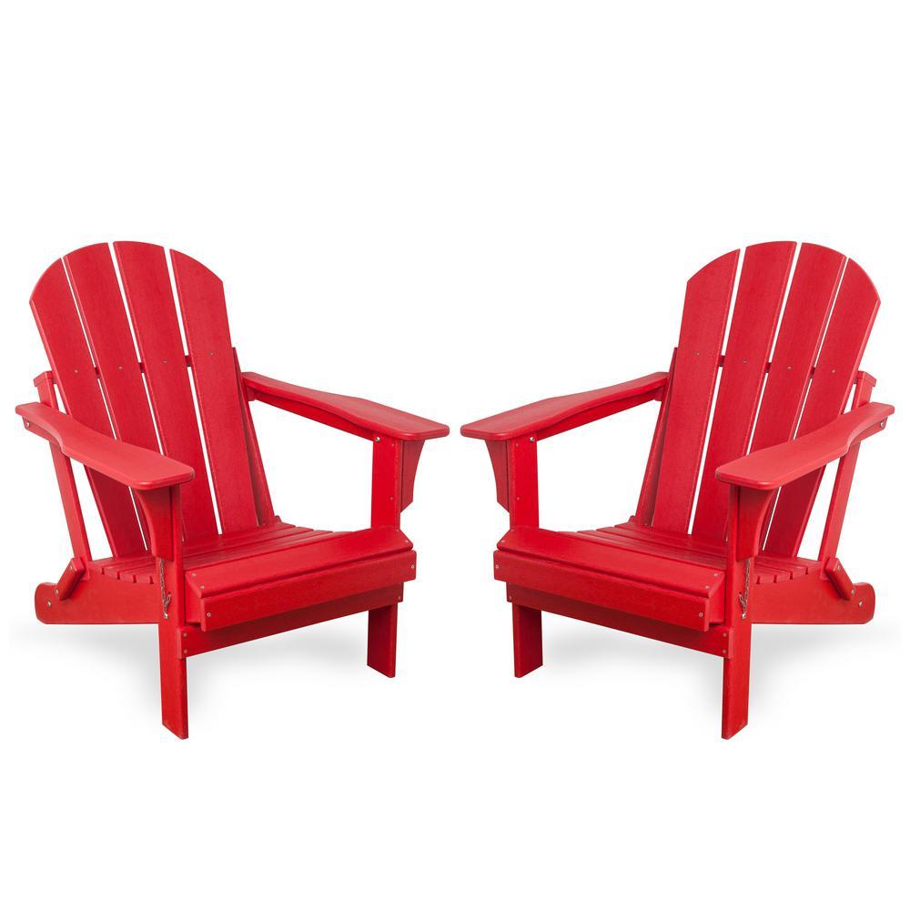 Addison Red Folding Plastic Outdoor Adirondack Chair (Set of 2)