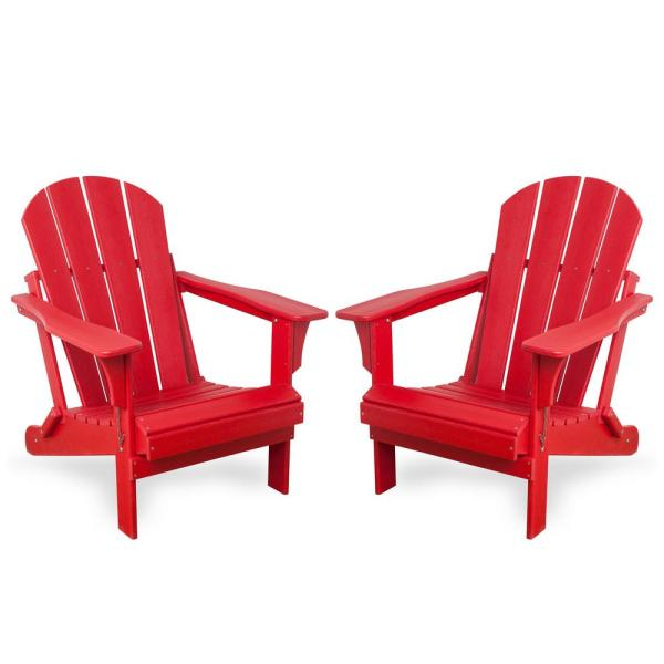 Addison Red Folding Plastic Outdoor Adirondack Chair (Set of 2)