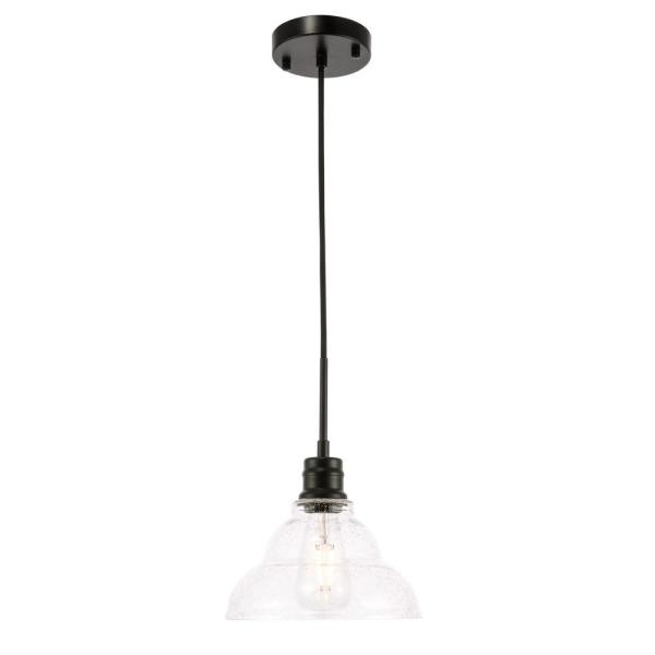Timeless Home Garza 1-Light Pendant in Black with 8.5 in. W x 5.25 in. H Clear Seeded Glass