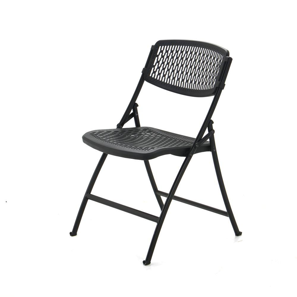 HDX Black Plastic Seat Outdoor Safe Folding Chair (Set of 4)