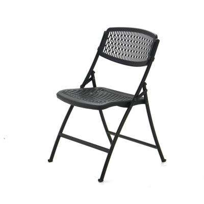 Black Plastic Seat Outdoor Safe Folding Chair (Set of 4)