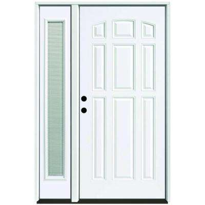 55 in. x 80 in. 9-Panel Primed White Right-Hand Steel Prehung Front Door with 16 in. Mini Blind Sidelite 4 in. Wall