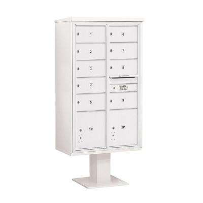 3400 Series 70-1/4 in. 15 Door High Unit White 4C Pedestal Mailbox with 9 MB2/2 PL5