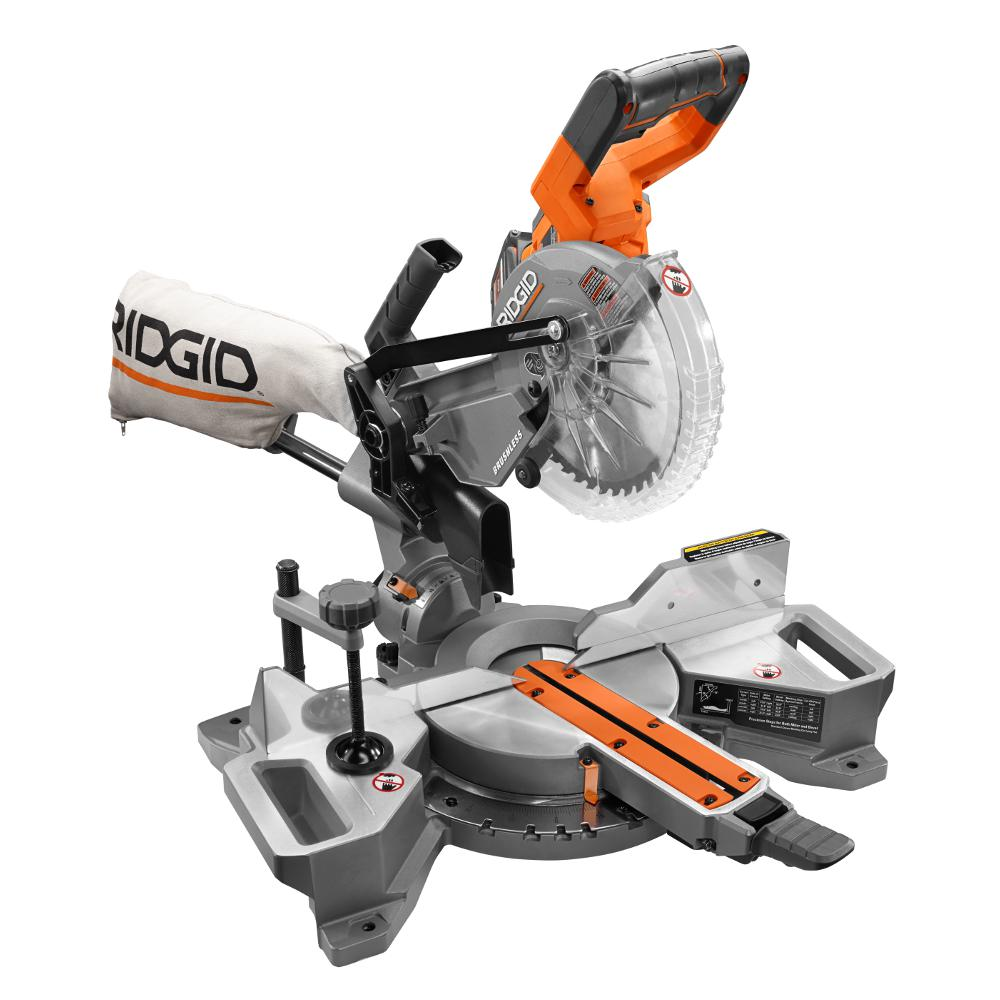 Ridgid 18 volt 7 14 in cordless brushless dual bevel sliding cordless brushless dual bevel sliding miter saw kit r48607k the home depot greentooth Image collections