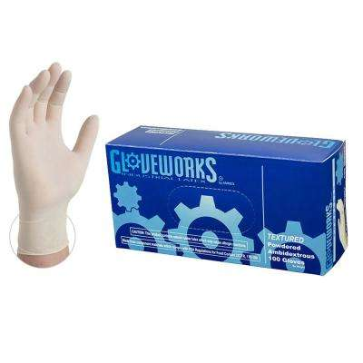 Ivory Latex Industrial Powdered Disposable Gloves (Box of 100)