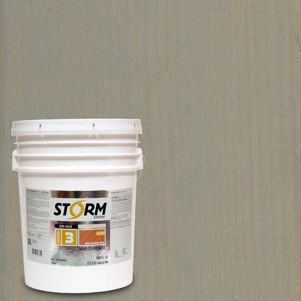 Storm System 5 gal. Mystic Gray Exterior Semi-Solid Dual Dispersion Wood Finish