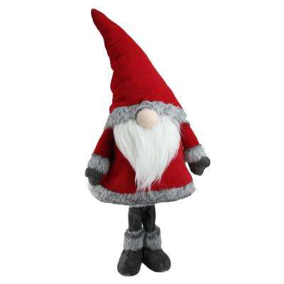 30 in. Red Standing Christmas Santa Claus Gnome with Gray Faux Fur Trim