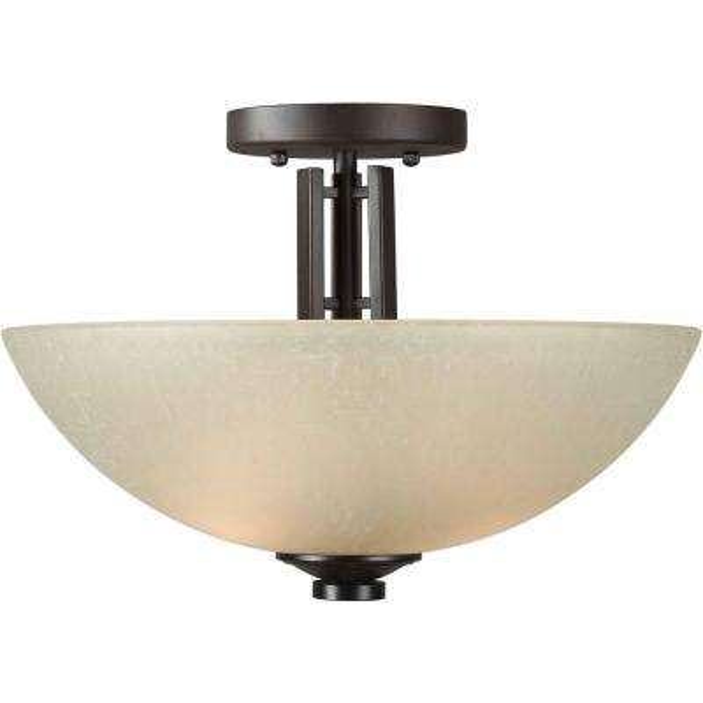 2-Light Antique Bronze Semi-Flush Mount Light with Umber Linen Glass