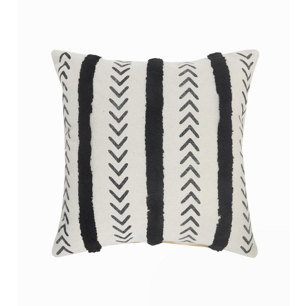 LR Home Herringbone Black / Cream Chevron Tufted Striped Cozy Poly