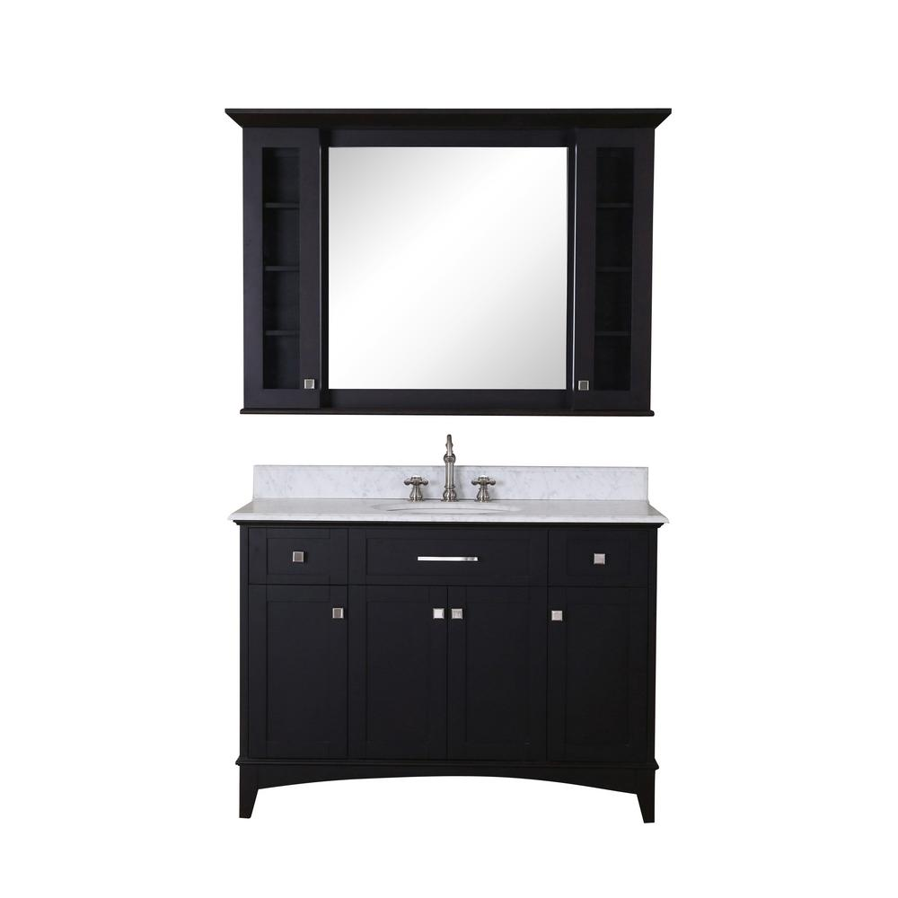 Water Creation Manhattan 48 in. Vanity in Dark Espresso with Marble Vanity Top in Carrara White and Matching Mirror