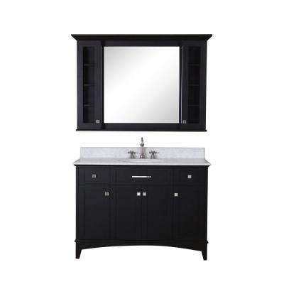 Manhattan 48 in. Vanity in Dark Espresso with Marble Vanity Top in Carrara White and Matching Mirror