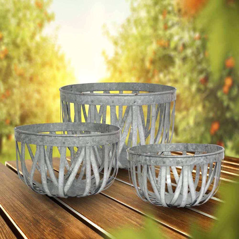 Stonebriar Collection 18 in. X 12 in. Large Antique Galvanized Metal Round Open Weave Baskets (Set of 3)