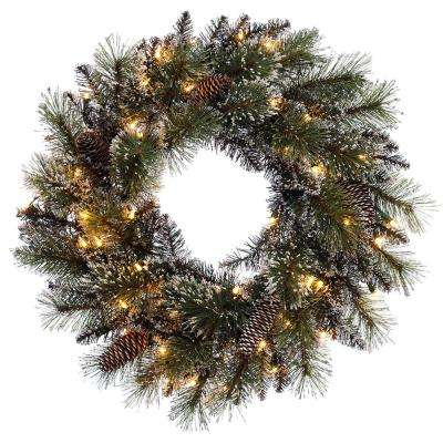 24 in. Pre-Lit Incandescent Artificial Glitter Christmas Wreath with 120 Tips and 50 UL Clear Lights