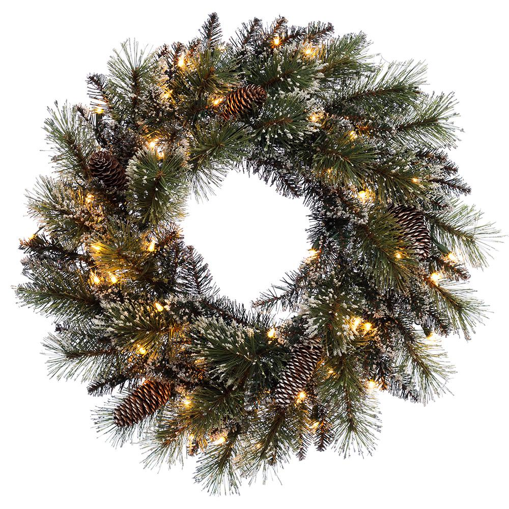 Puleo International 24 in. Pre-Lit Incandescent Artificial Glitter Christmas Wreath with 120 Tips and 50 UL Clear Lights