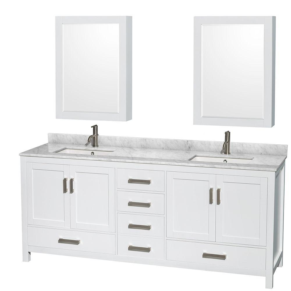 Wyndham Collection Sheffield 80 in. Double Vanity in White with Marble Vanity Top in Carrara White and Medicine Cabinets