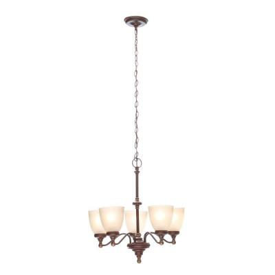 Bristol 5-Light Nutmeg Bronze Chandelier with Tea-Stained Glass Shades