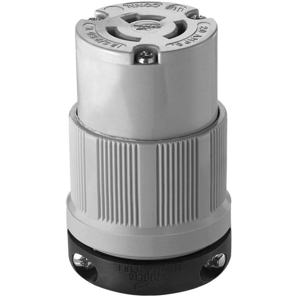 Eaton 20 Amp 125 250 Volt Safety Grip Connector Gray 7314c The Cooper Wiring Devices 20amp 125volt Yellow 3wire Grounding Plug