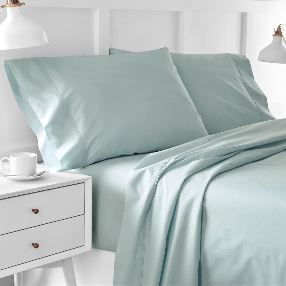 Urban Edgelands T200 4-Piece Sterling Blue Organic Cotton Full Sheet Set