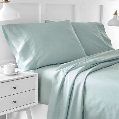 Urban Edgelands T200 4-Piece Sterling Blue Organic Cotton Full Sheet Set