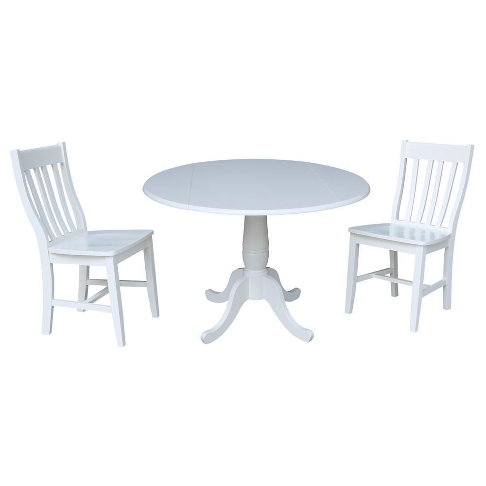 International Concepts Laurel 3 Piece White Drop Leaf Dining Set