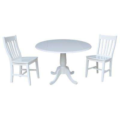 Laurel 3-Piece White Drop-leaf Dining Set with 2-Caf Chairs