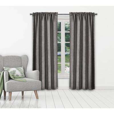 Maddyson Grey Blackout Grommet Panel Pair - 37 in. W x 106 in. L in (2-Piece)