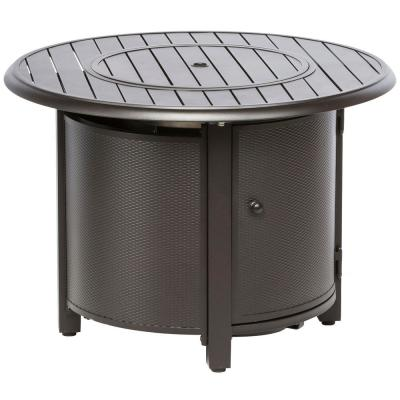 Bay Ridge 36 in. x 25 in. Round Aluminum Propane Gas Fire Pit Table with Glacier Ice Firebeads