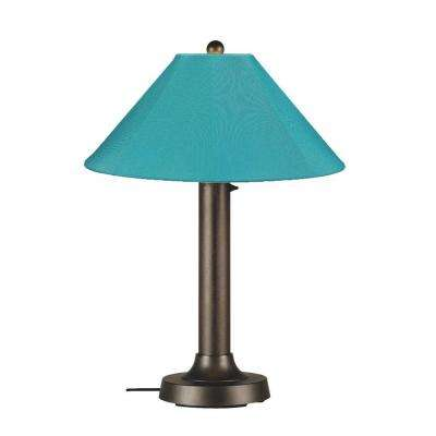Catalina 34 in. Bronze OutdoorTable Lamp with Aruba Shade