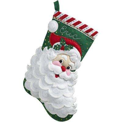 18 in. Felt Stocking Kit-Jolly Saint Nick