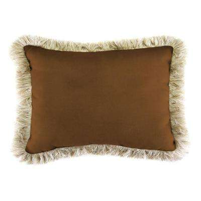 Sunbrella 9 in. x 22 in. Canvas Teak Lumbar Outdoor Pillow with Canvas Fringe