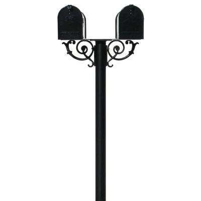 Hanford Twin Post Mounted Non-Locking Mailbox with 2 E1 Mailboxes and Scroll Supports