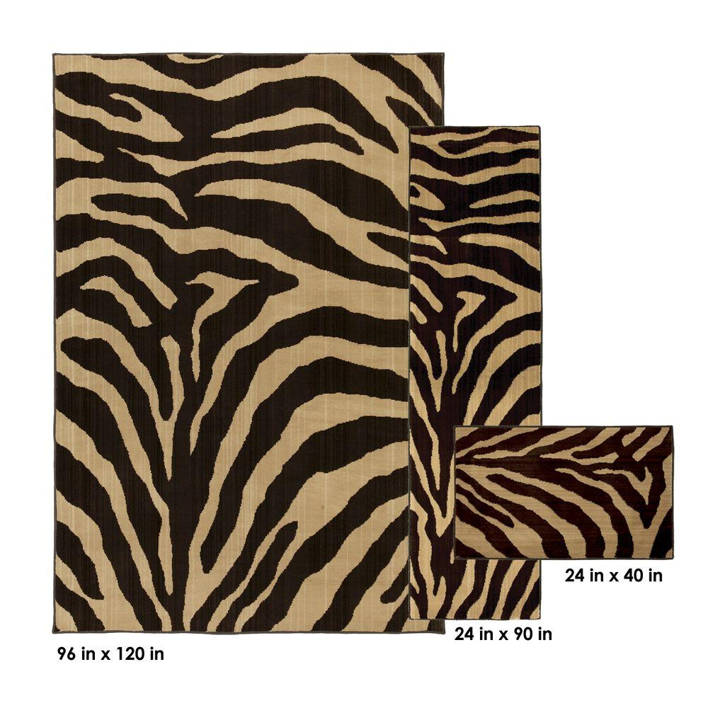 Mohawk Home Ababa Dark Brown 8 ft. x 10 ft. 3-Piece Rug Set
