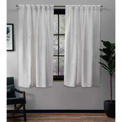 Sateen 52 in. W x 63 in. L Woven Blackout Hidden Tab Top Curtain Panel in Vanilla (2 Panels)