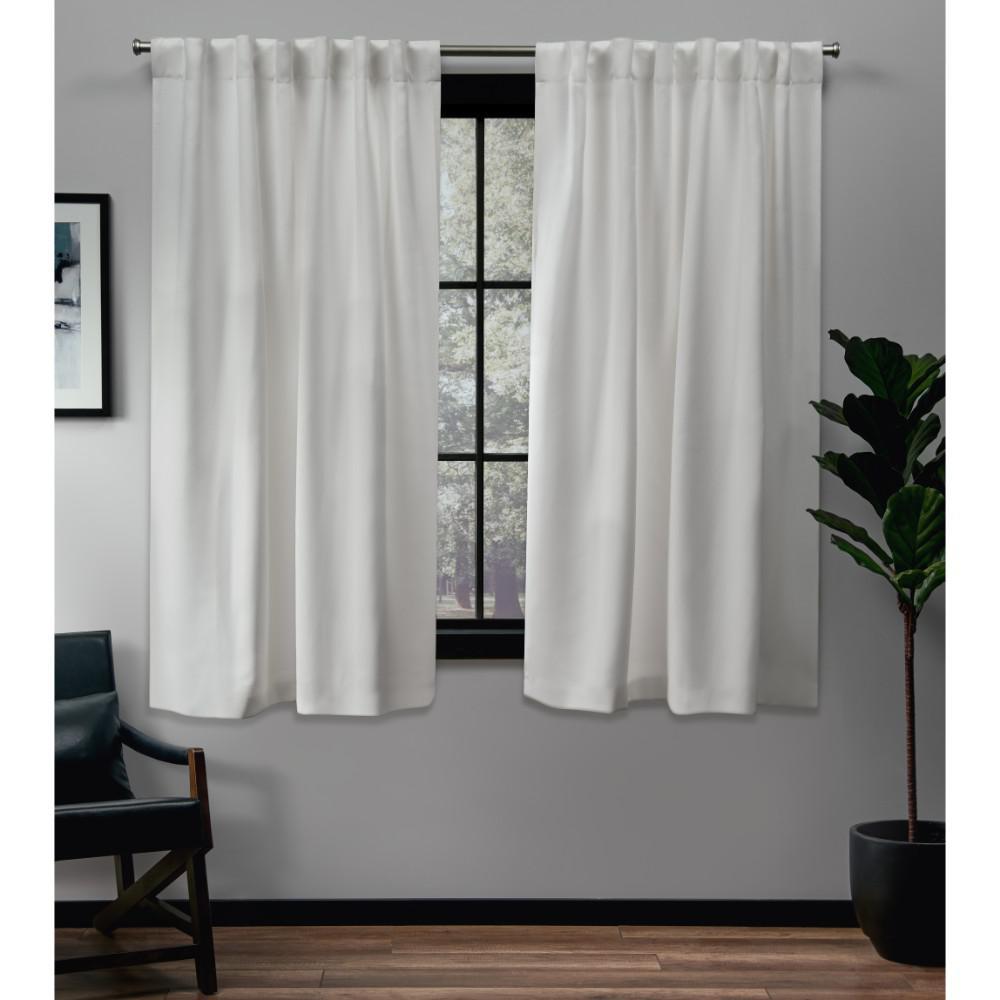 Sateen 52 in. W x 63 in. L Woven Blackout Hidden Tab Top Curtain Panel in Vanilla (2 Panels)